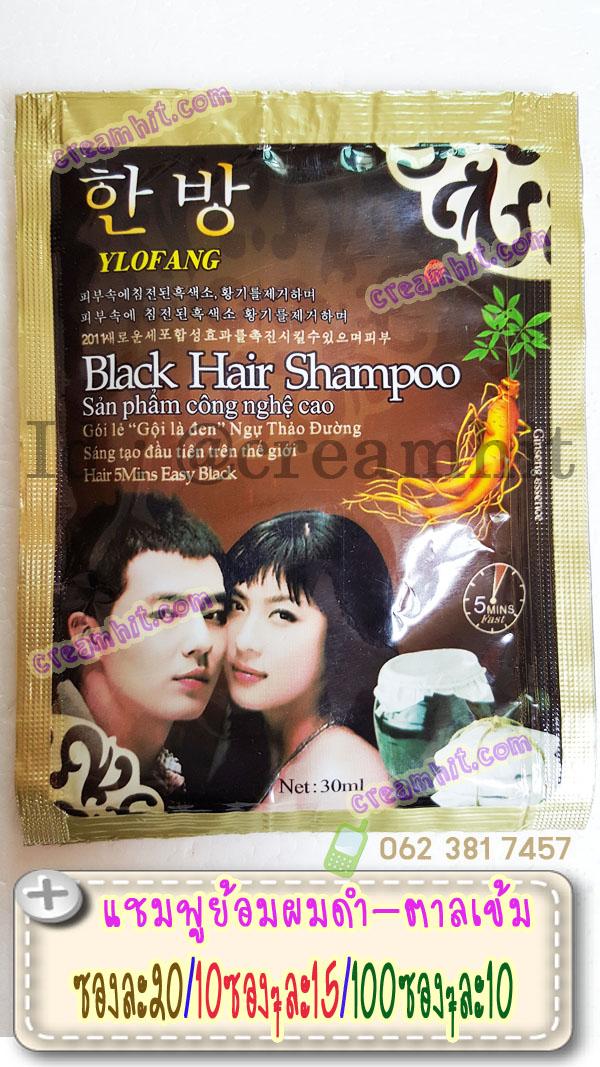 แชมพูย้อมผมดำ สูตรโสม ylofang Black Hair Shampoo ซองสีน้ำตาลขอบทอง แชมพูเปลี่ยนสีผมสีดำ