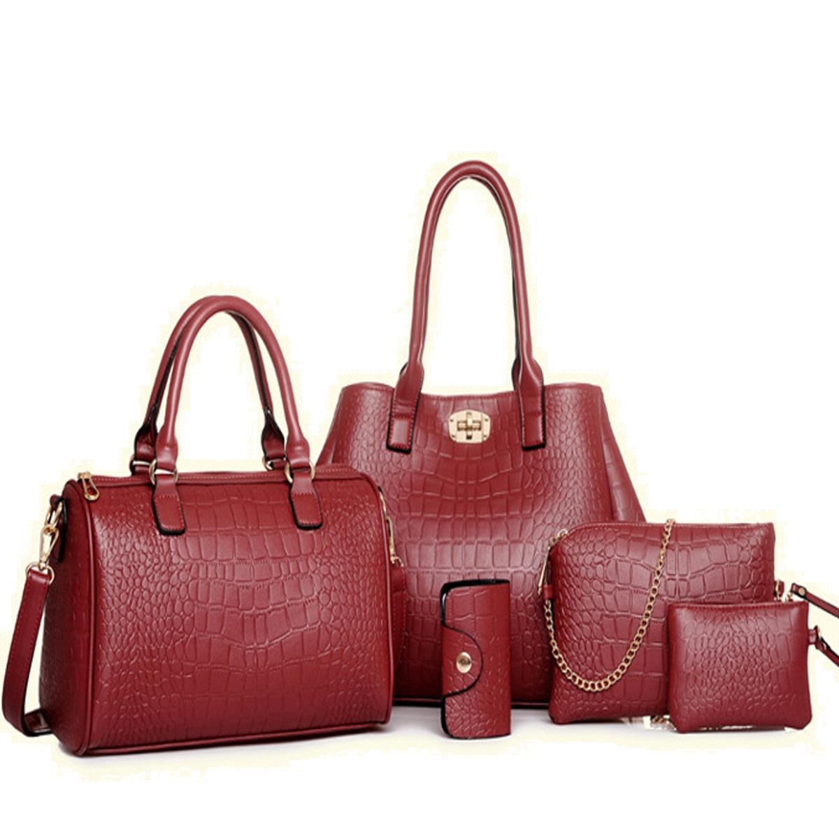 กระเป๋า PU set 5 ใบ (สีแดง)