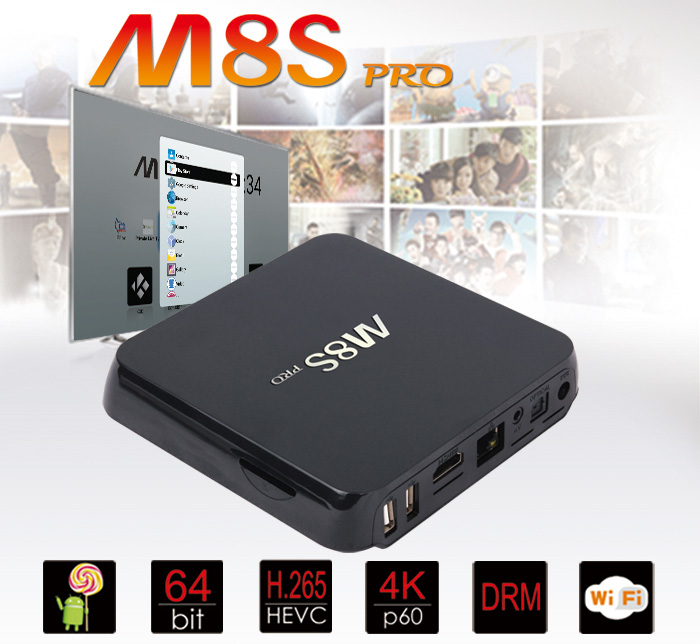 Android-Box-4K-M8S PRO แรม 2GB / พื้นที่เก็บข้อมูล 8GB Android 5.1 / 64Bit