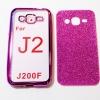 เคสซิลิโคน Samsung Galaxy J2 ขอบสีชมพูบานเย็นพร้อมแผ่นกากเพชรสีชมพูบานเย็น