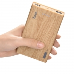Hoco Power Bank B12b 13000mAh Carbon Fiber ลายไม้น้ำตาล Walnut