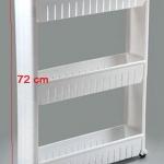 SECEN ชั้นวางของในที่แคบมีล้อเลื่อน วางไว้ในครัว วางไว้ในห้องน้ำ-3ชั้น (สีขาว)