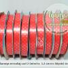 ริบบิ้นลายจุดแดง ตราระฆังคู่ (ม้วนเล็ก) เบอร์2 ยาว 50 yrds