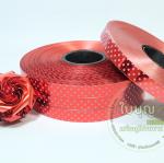 ริบบิ้นฟลอย ลายจุด สีแดง เบอร์ 2 ตรามงกุฎ (ยาว 100 หลา กว้าง 1.2 cm)