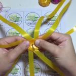 ใบบุญ Ribbon ep.1 วิธีมัดดิ้น และใส่ดิ้นที่ฐานเหรียญโปรยทาน ส้ม สตอเบอรี่ (ใช้ดิ้นแทนก้านหลอด)
